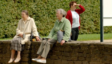 Two seniors resting on a wall in the Park with a woman reading an information board in the background.