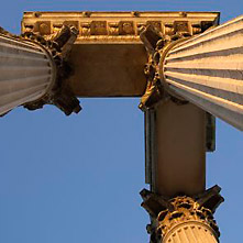 Three pillars and the entablature seen from below.