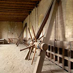 The winches used to raise and lower the wooden gate of the north tower.