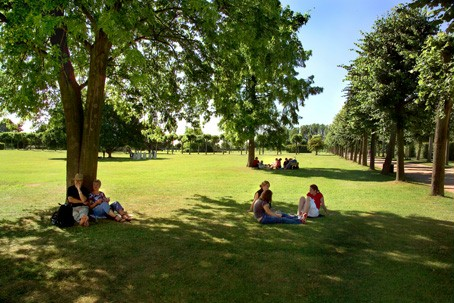 Visitors relaxing on one of the spacious lawns in the park.