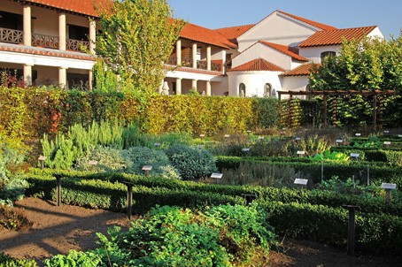 The herb garden with the Roman Hostel in the background.