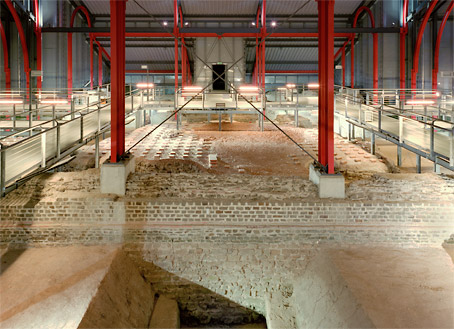 Remains of the Large Roman Baths under the protective building of glass and steel.