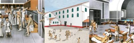 Szenen des römischen Badelebens in den Thermen.