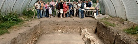 Group of visitors at a canopied excavation site during a guided tour.