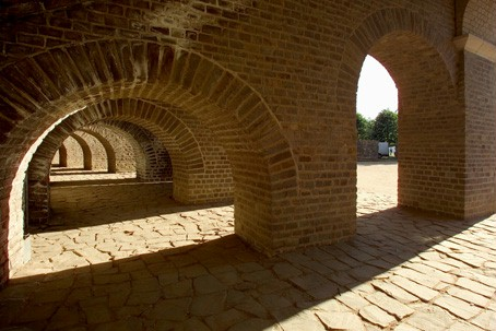 The vault under the terraces of the reconstructed amphitheatre.