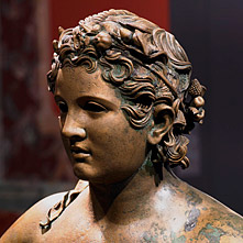 Head of a life-size Roman bronze statue (Boy from Lüttingen).