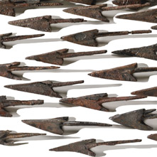 Numerous original spearheads.
